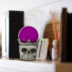 Halloween Decoration - Swirling Smoke Mystical Orb on Skull Stand - Purple