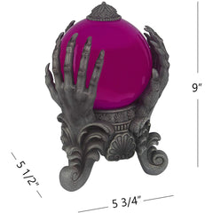 Halloween Decoration - Mystical Swirling Smoke Orb in Ghoul hands Stand - Purple