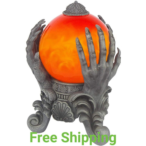 Halloween Decoration - Mystical Swirling Smoke Orb in Ghoul hands Stand - Orange