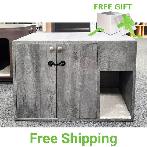 Cat Litter Box Cabinet | Double Doors | Cabinet with Latch | Custom Finish