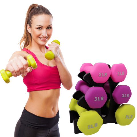 Dumbbells Set - Neoprene (Tree Stand Included) - Qlevo - Clever Living