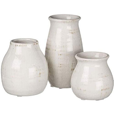 Sullivans Small White Ceramic Vase Set, Rustic White Home Decor, Great for Centerpieces, Kitchen, Office or Living Room - Qlevo - Clever Living