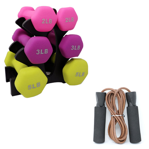 Neoprene Dumbbell Set and Leather Jump Rope (Save $5.55) - Qlevo - Clever Living