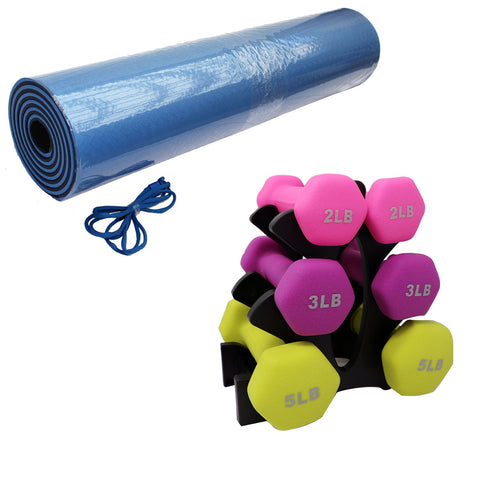 Neoprene Dumbbell Set and Yoga Mat (Save $7.80) - Qlevo - Clever Living