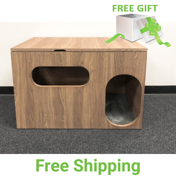 Cat Litter Box Cabinet | Pet Ottoman | Cutouts for Light-in | Custom Finish