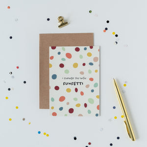 wenskaart met enveloppe, confetti, i shower you with funfetti