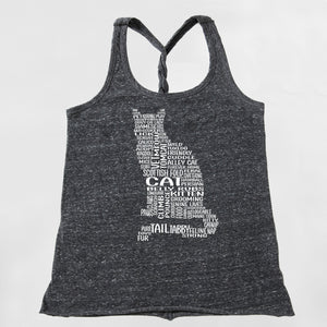 Cat Graphic Twist Back Tank Top