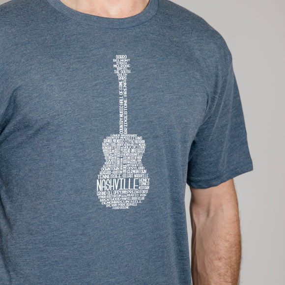 Nashville Men's Guitar Graphic Tee - Indigo
