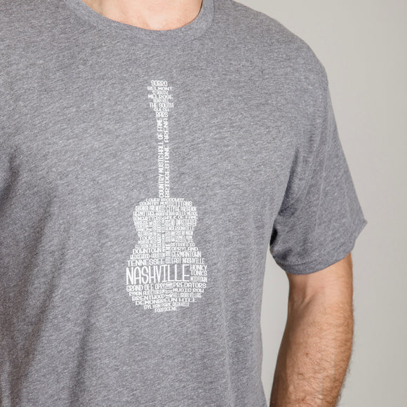 Nashville Men's Guitar Graphic Tee - Grey