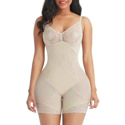 Lace Mid Thigh Body Shaper in Beige