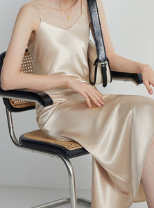 Smooth v-neck satin long dress in beige from slim coquette shapewear online store