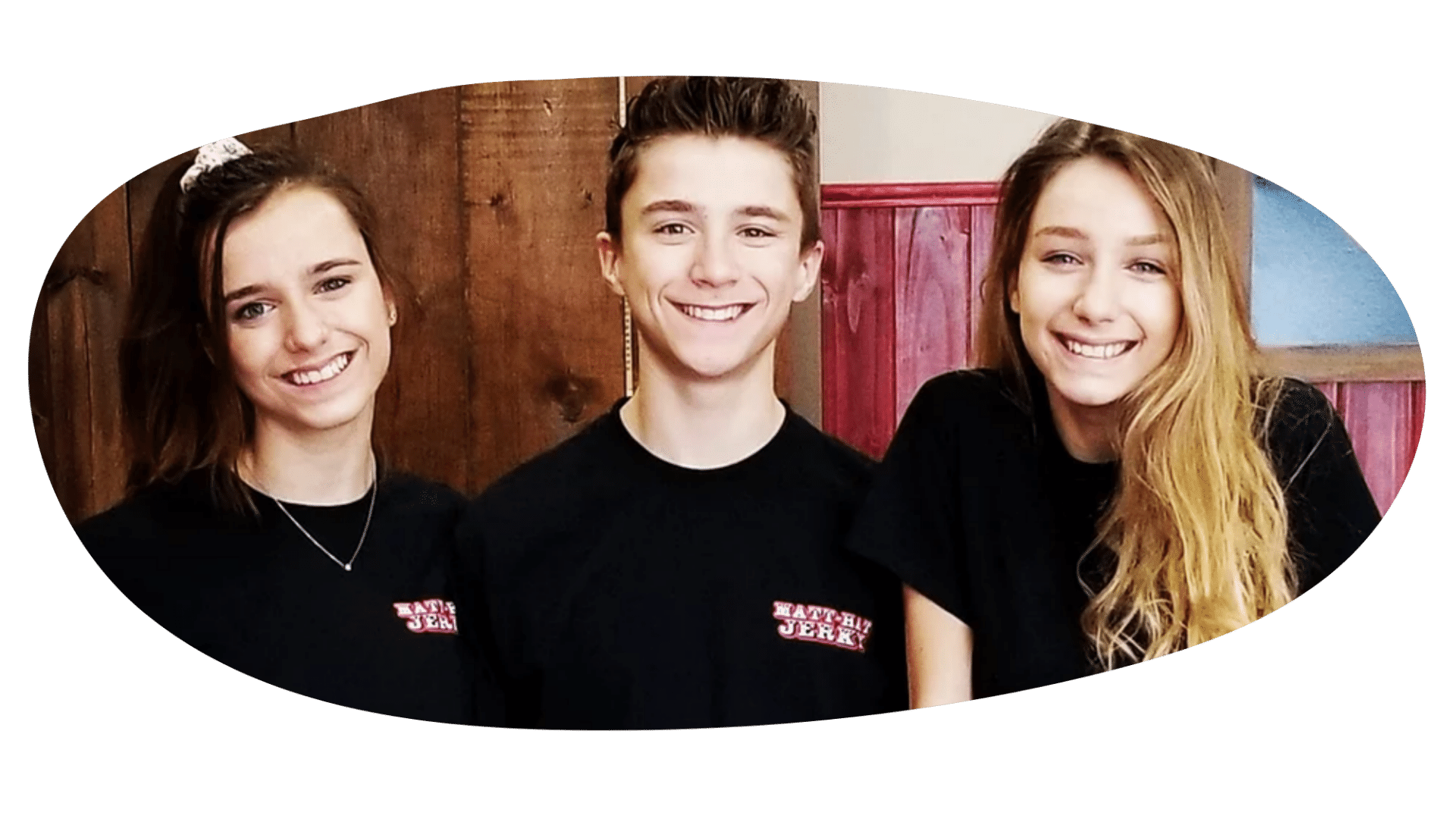 The founder of Matt-Hat Jerky, Matt Kuplack with his sisters Kayla and Katrina posing for a picture.