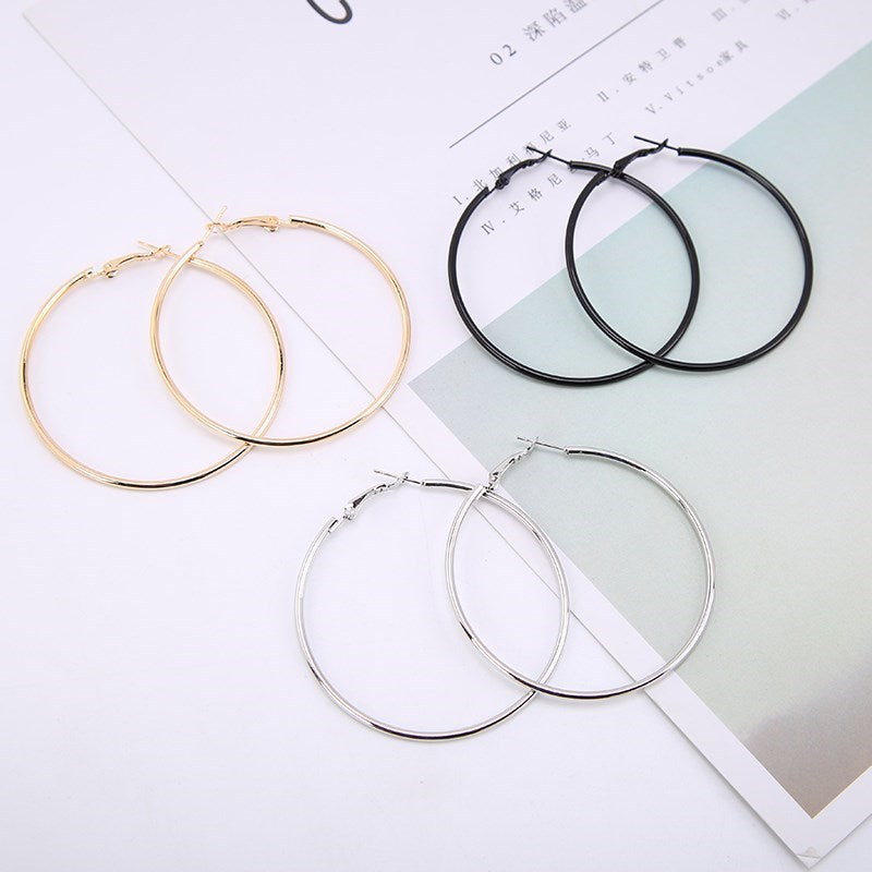 1Pair Fashion Smooth big Circle Earrings
