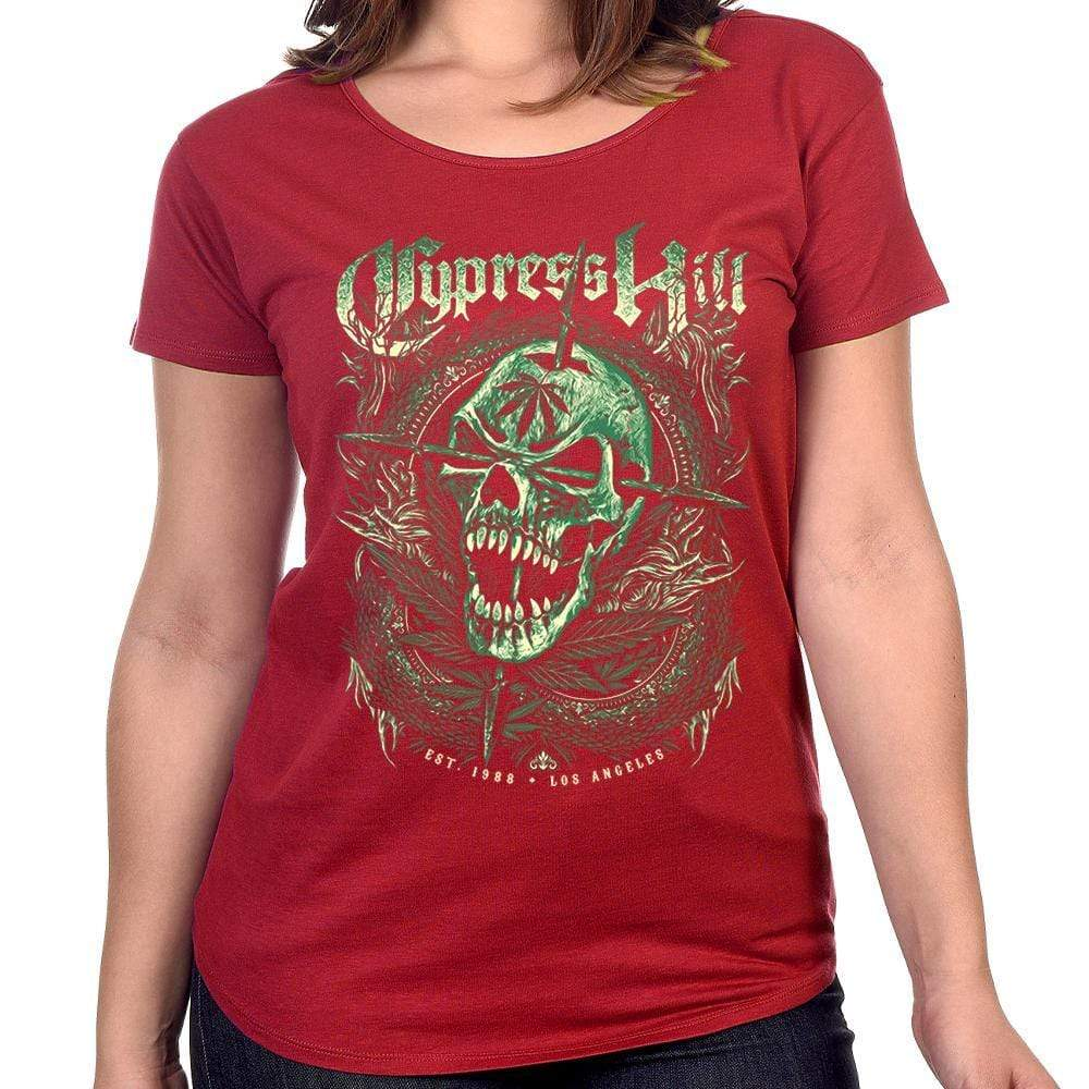 "Cypress Hill ""Est 1988"" Women's Red Over Sized Scoop Neck T-Shirt"