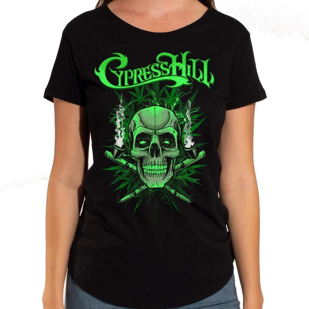 "Cypress Hill ""420"" Women's Raw Edge Scoop Neck Sliced Back Tee"