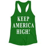 Keep America High Green Racerback Tank