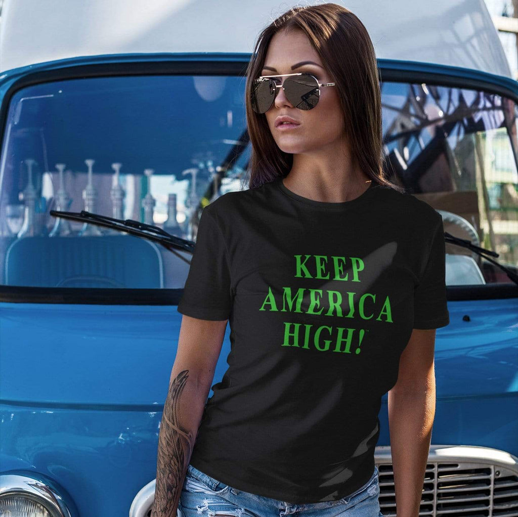 CustomCat T-Shirts Keep America High Green Text Black Ladies' T-Shirt