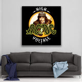 AC/DC High Voltage Circle Canvas Art
