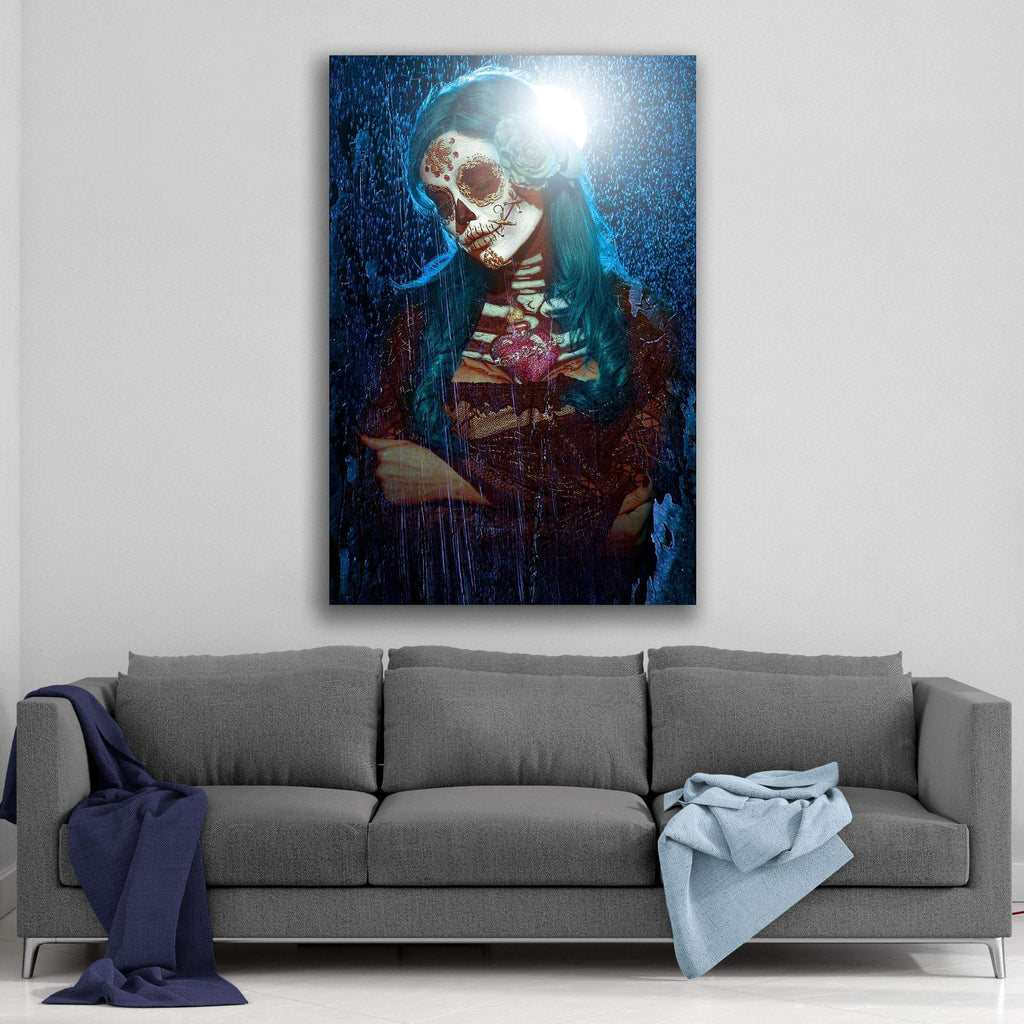 Day of the Dead Blue Moon By Daveed Benito Canvas Art