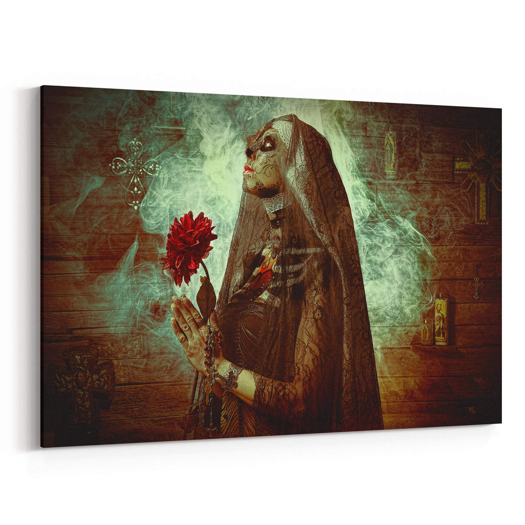 Day of the Dead Nun Prayer By Daveed Benito Canvas Art