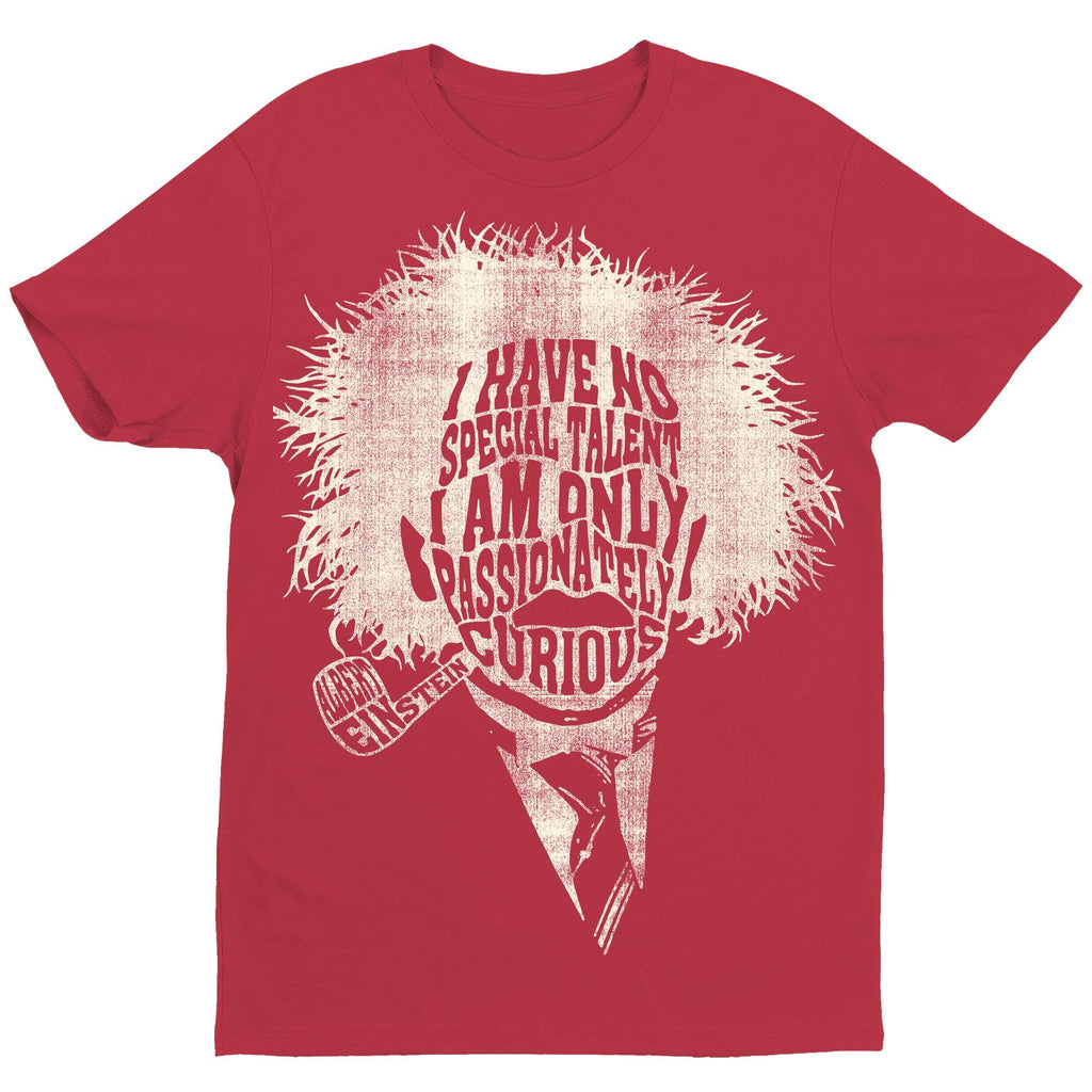 Einstein Passionately Curious Red T-Shirt