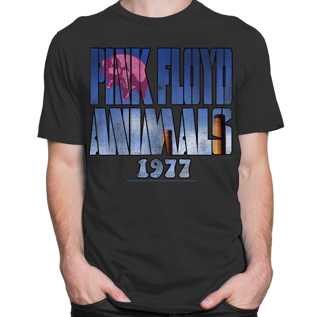 Pink Floyd Pig in Text Charcoal T-Shirt