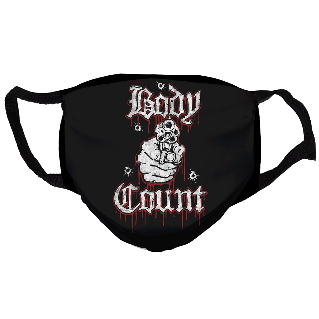"Keep America High™ Body Count ""Talk Shit Get Shot"" Reusable and Washable Anti-Germ and Pollution Mask Cover"