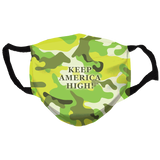 Keep America High Neon Green Camo  Reusable and Washable Anti-Germ and Pollution Face Mask Cover