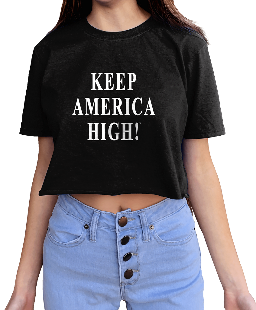 """Keep America High"" Women's Black Crop Tee"