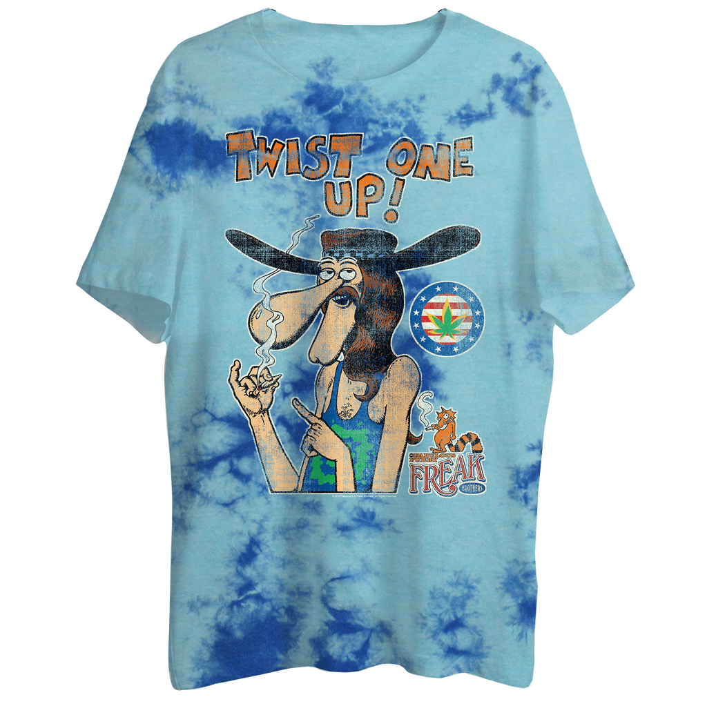 "Keep America High™ Twist One Up ""Freak Brothers"" Blue Tie Dye T-Shirt"