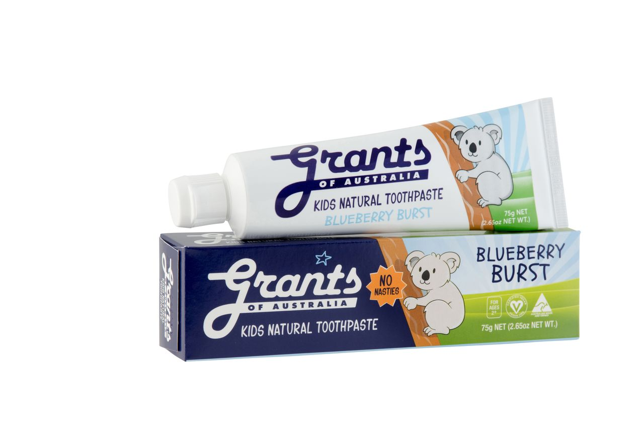 Grants Blueberry Burst Kids Natural Toothpaste Fluoride Free