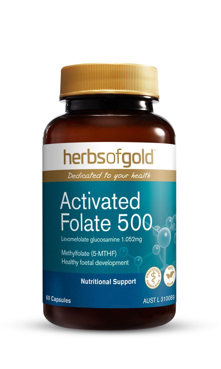 HERBS OF GOLD ACTIVATED FOLATE 500 60C