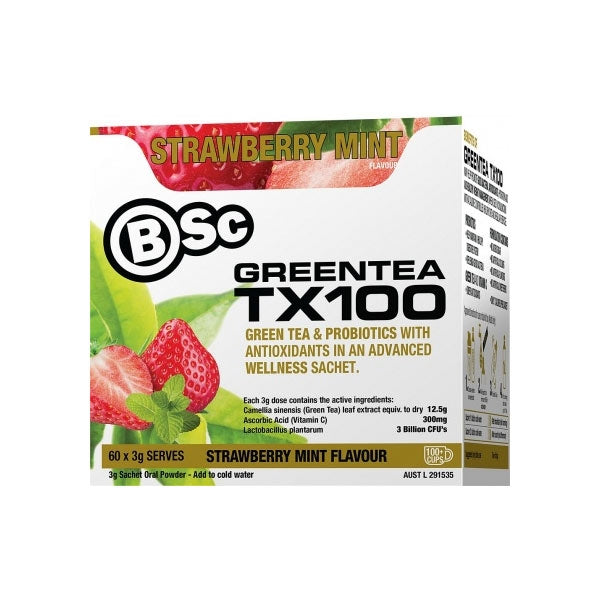 Body Science Green Tea TX100 Strawberry Mint 60 Sachets