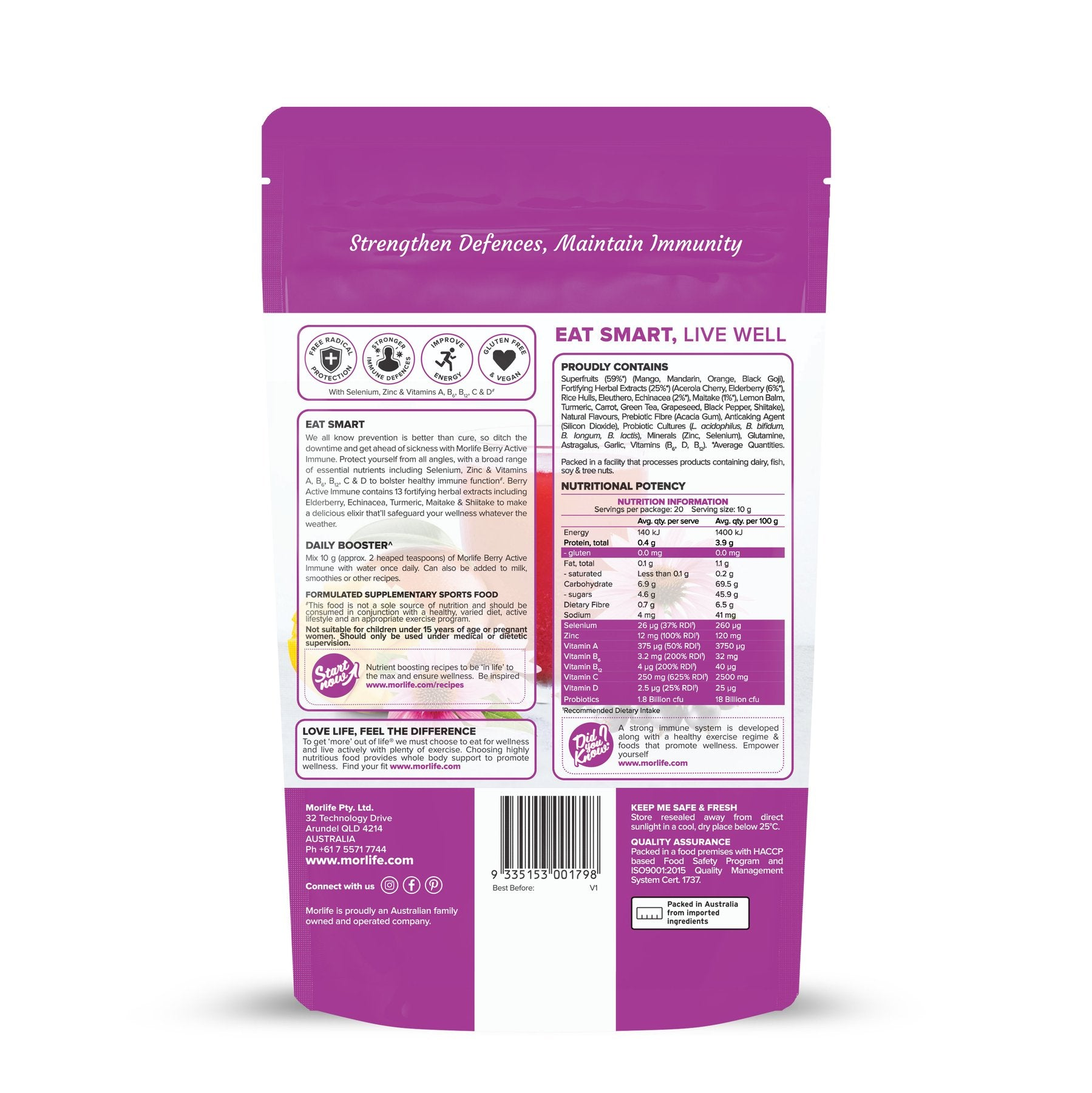 MORLIFE - BERRY ACTIVE IMMUNE 200G