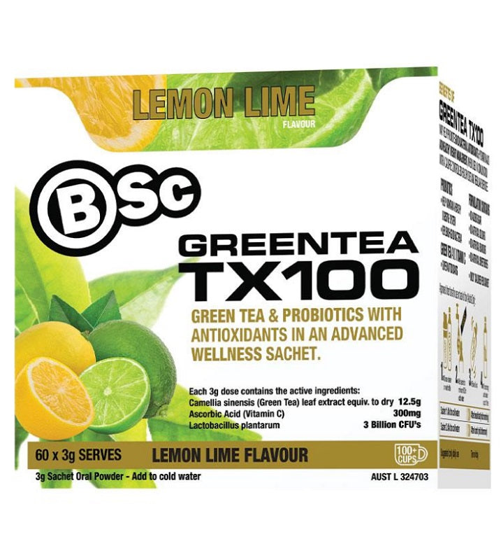 Body Science Green Tea TX100 Lemon Lime 60 Sachets
