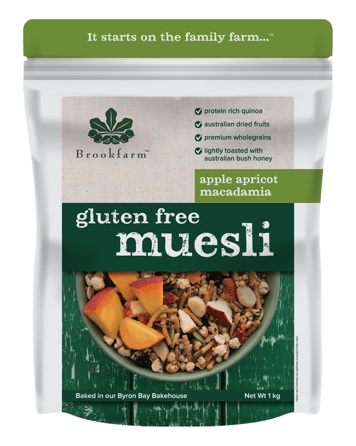 Brookfarm Gluten Free Macadamia Muesli with Apple & Apricot 1kg