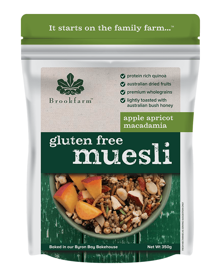 Brookfarm Gluten Free Macadamia Muesli with Apple & Apricot 350g
