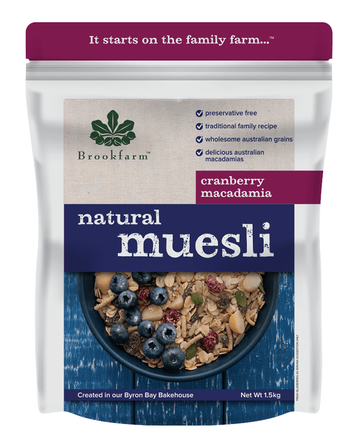 Brookfarm Natural Macadamia Muesli with Cranberry 1.5kg