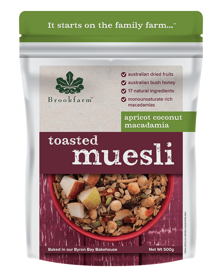 Brookfarm Toasted Macadamia Muesli with Apricot & Coconut 500g