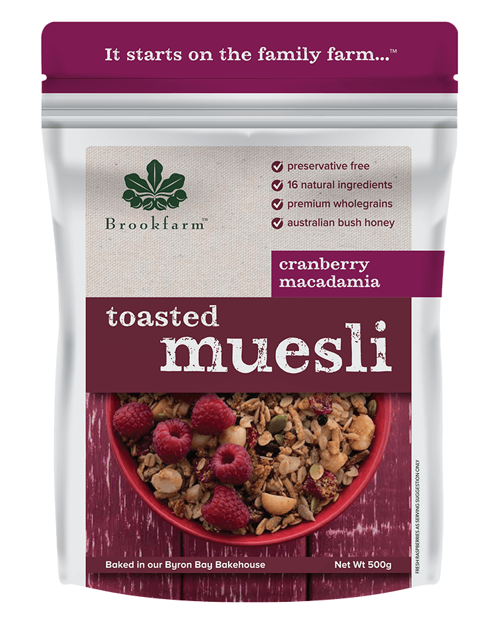 Brookfarm Toasted Macadamia Muesli with Cranberry 500g