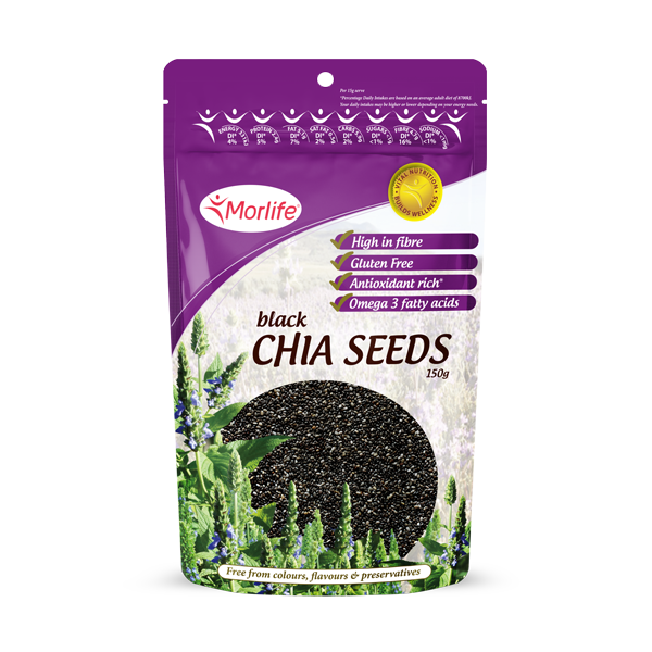MORLIFE - CHIA SEEDS BLACK CERTIFIED ORGANIC 150G