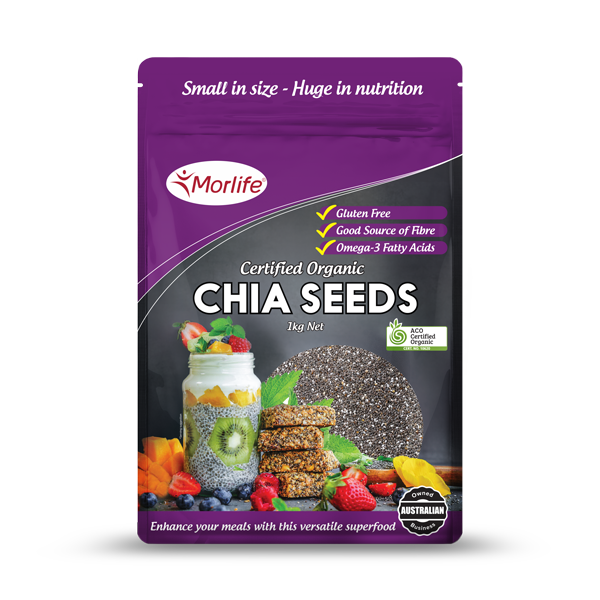 MORLIFE - CHIA SEEDS BLACK CERTIFIED ORGANIC 1KG