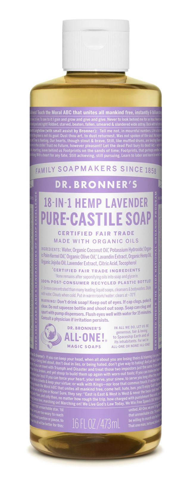 Dr Bronner's 18-In-1 Hemp Lavender Pure Castile Soap 473ml