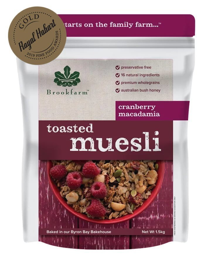 Brookfarm Toasted Macadamia Muesli with Cranberry 1.5kg