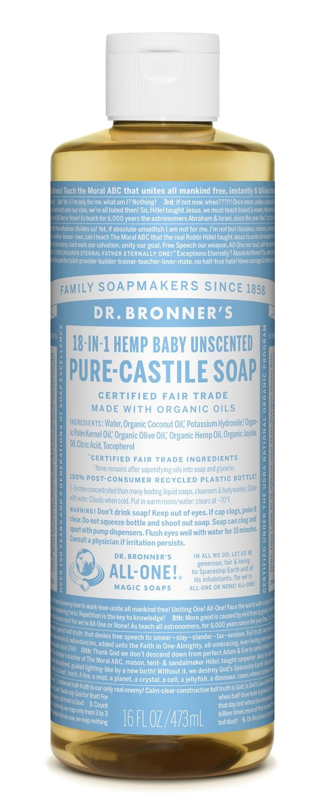Dr Bronner's 18-In-1 Hemp Baby Unscented Pure Castile Soap 473ml