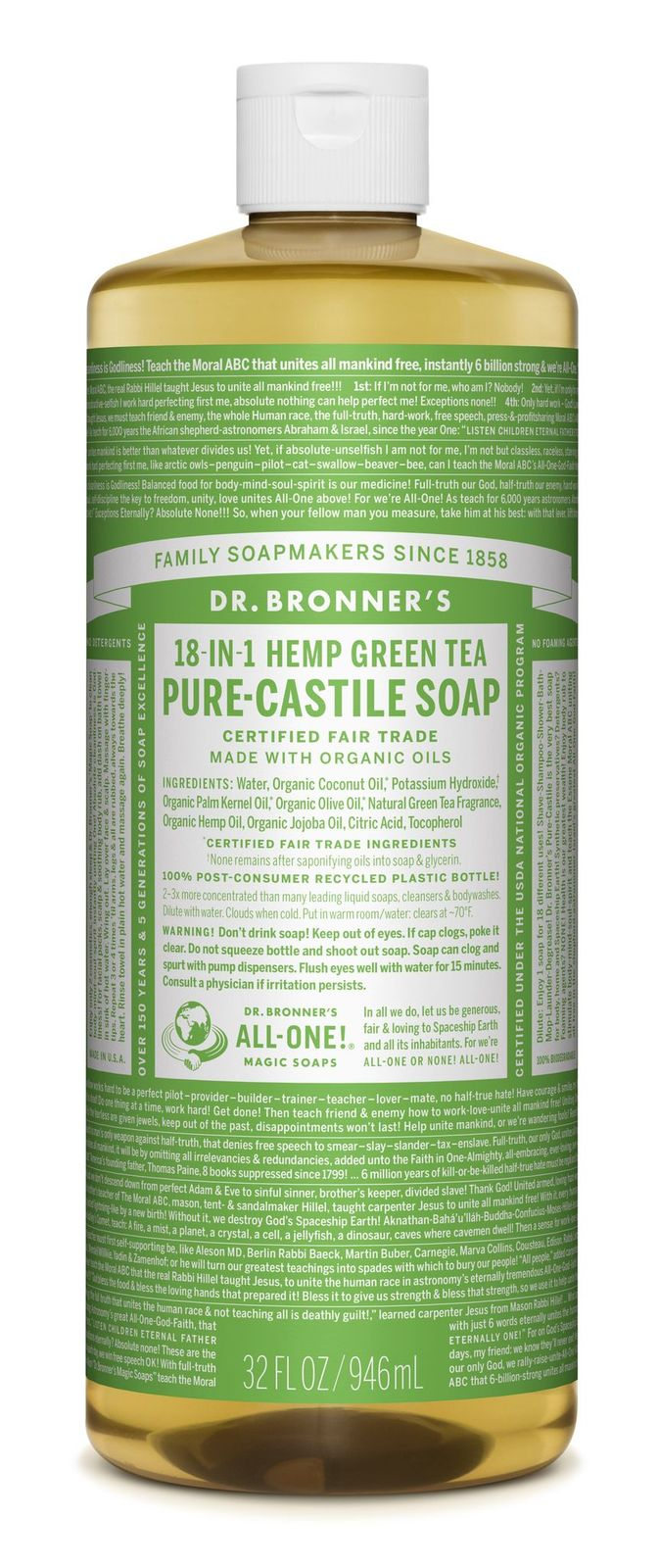 Dr Bronner's 18-In-1 Hemp Green Tea Pure Castile Soap 946ml