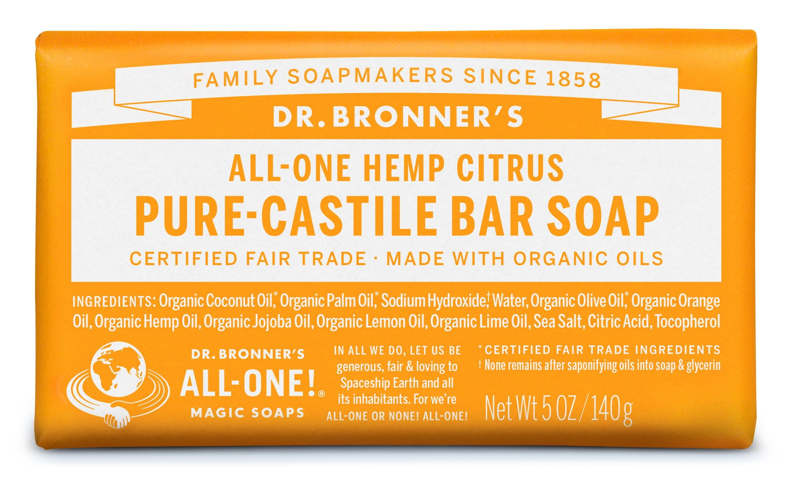 Dr Bronner's Hemp Citrus Pure Castile Soap Bar 140g