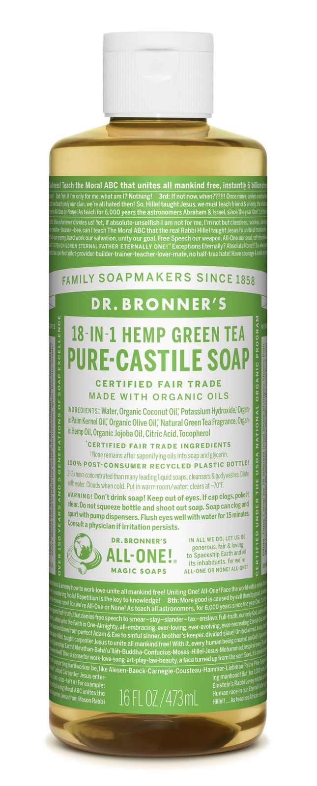 Dr Bronner's 18-In-1 Hemp Green Tea Pure Castile Soap 473ml
