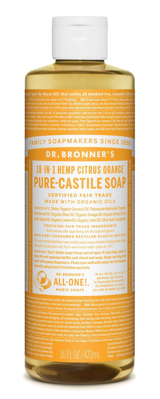 Dr Bronner's 18-In-1 Hemp Citrus Pure Castile Soap 473ml