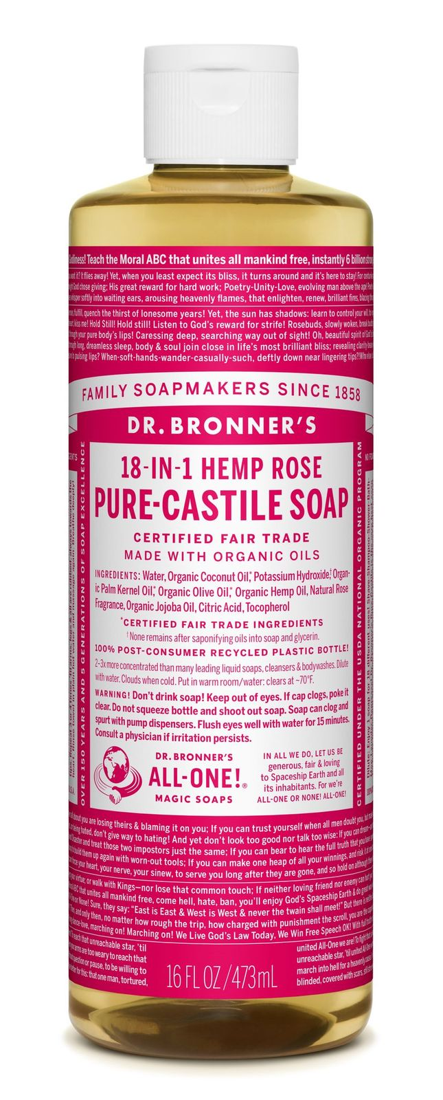 Dr Bronner's 18-In-1 Hemp Rose Pure Castile Soap 473ml